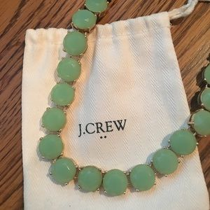 J. Crew mint and gold necklace with jewelry bag!